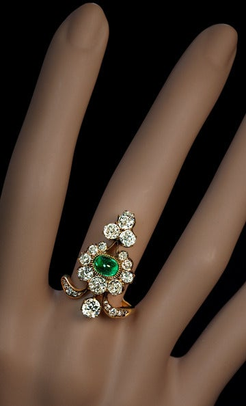 Antique Russian Emerald Diamond Gold Ring For Sale At 1stdibs