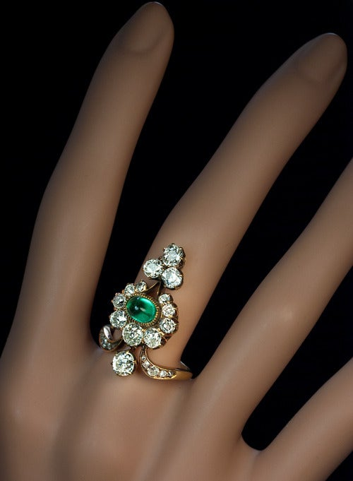 Antique Russian Emerald Diamond Gold Ring For Sale 1