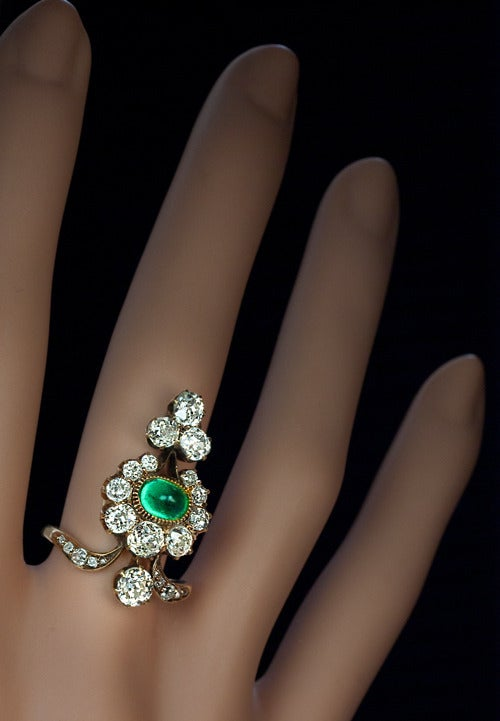 Antique Russian Emerald Diamond Gold Ring For Sale 2