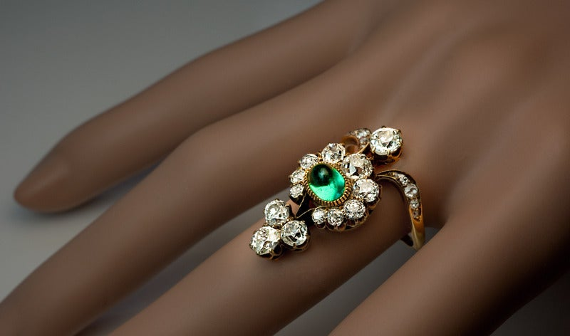 Antique Russian Emerald Diamond Gold Ring For Sale 3