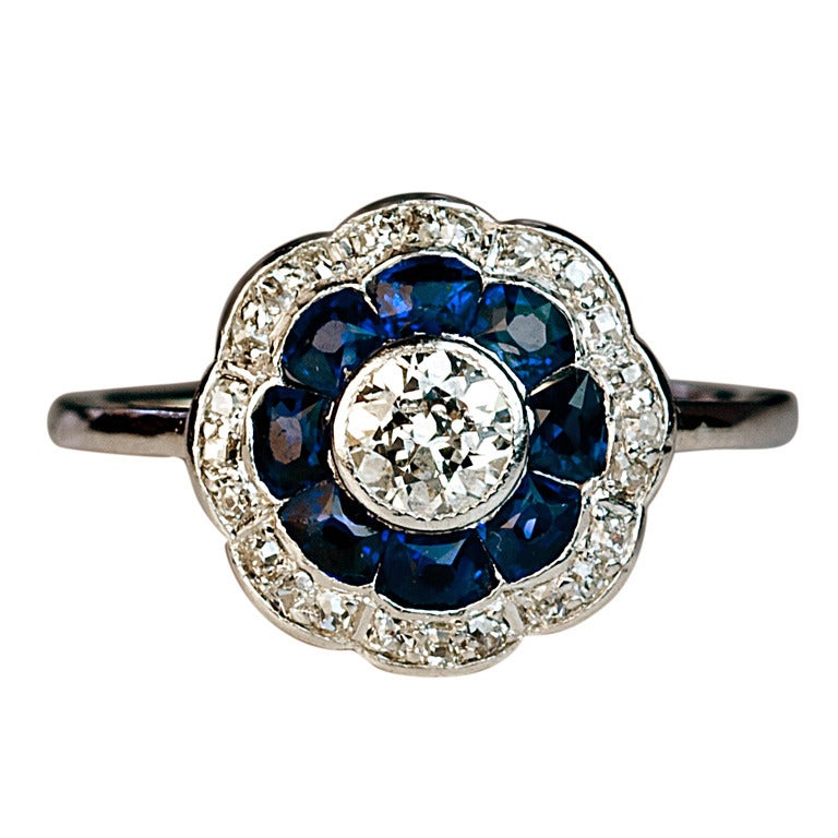 antique sapphire and engagement ring c 1910 at