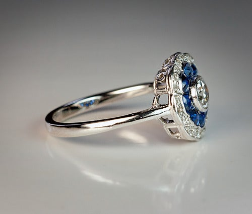 Antique Sapphire And Diamond Engagement Ring C. 1910 At