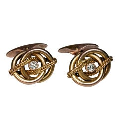 Antique Russian Diamond Gold Cufflinks