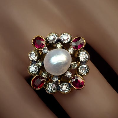 antique pearl ruby renaissance revival ring at 1stdibs