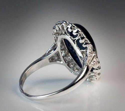 Cabochon Sapphire Diamond Platinum Ring 1920s For Sale 1