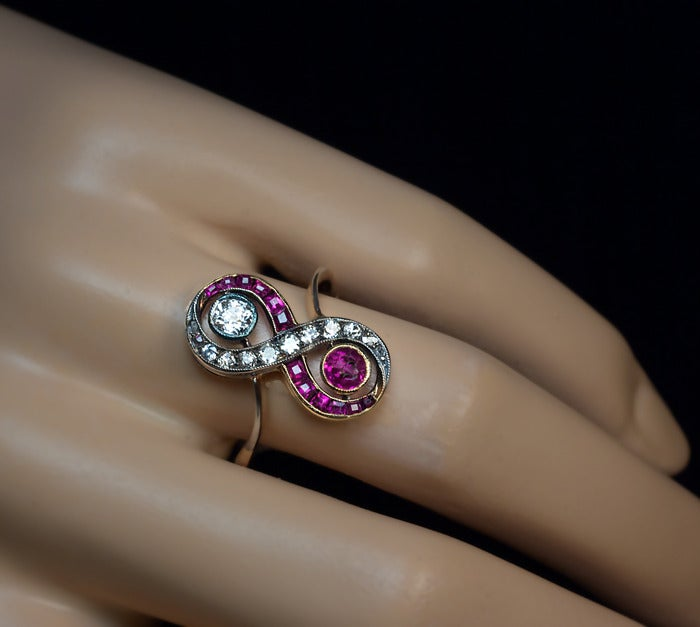 Art Deco Russian Ruby Diamond Engagement Ring c1910