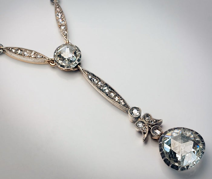 Antique Rose Cut Diamond Necklace In Excellent Condition For Sale In Chicago, IL