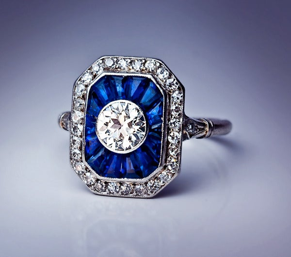 French art deco diamond sapphire engagement ring at 1stdibs for Art craft engagement rings