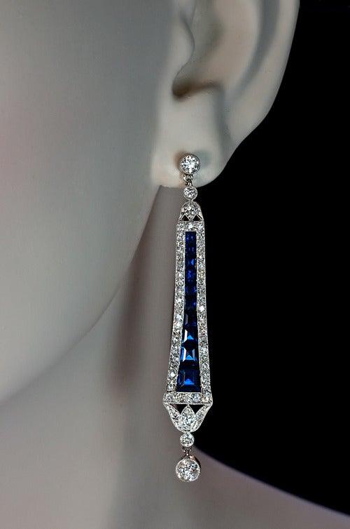 art deco calibre sapphire diamond dangle earrings at 1stdibs. Black Bedroom Furniture Sets. Home Design Ideas