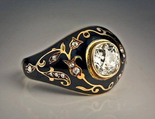 Antique Black Enamel Diamond Ring 4