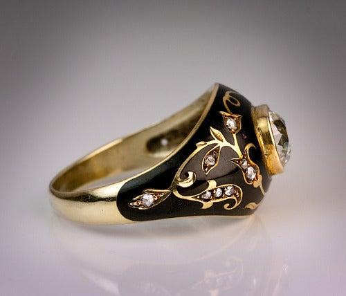Antique Black Enamel Diamond Ring 6