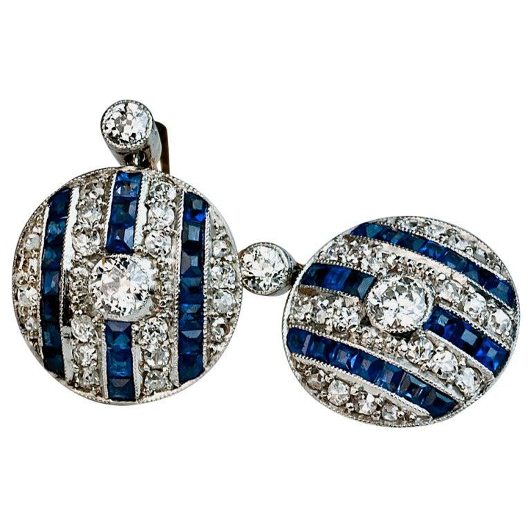 Art Deco Sapphire Diamond Earrings For Sale