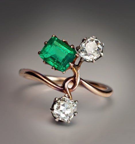 antique emerald flower ring at 1stdibs