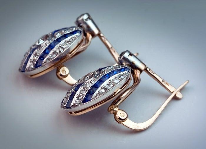 Women's Art Deco Sapphire Diamond Earrings For Sale
