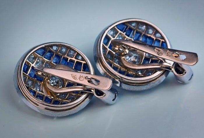 Art Deco Sapphire Diamond Earrings For Sale 1