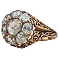 Antique Georgian Rose Cut Diamond Cluster Ring c1820