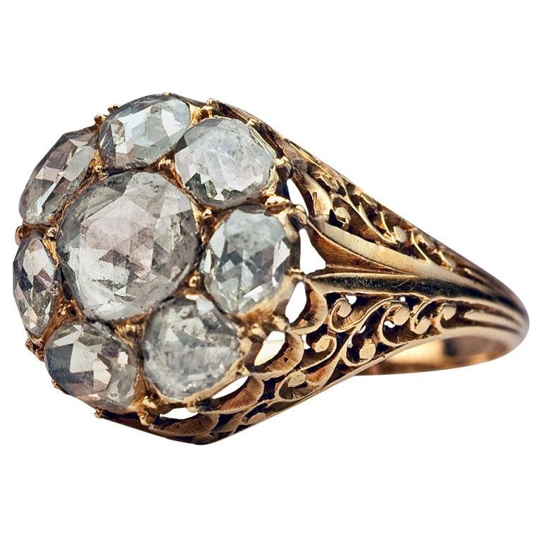 Antique Georgian Rose Cut Diamond Cluster Ring c1820 1