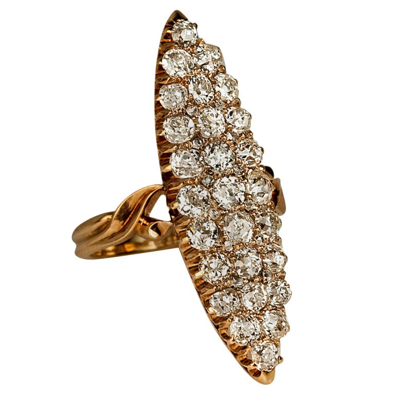 Antique Russian Diamond Cluster Marquise Shaped Ring