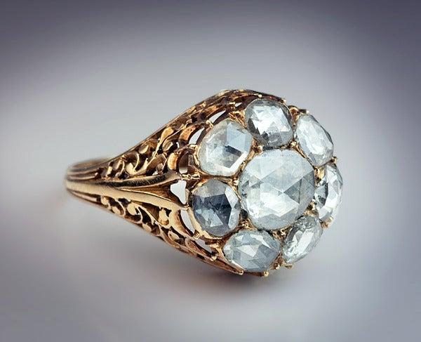Antique Georgian Rose Cut Diamond Cluster Ring c1820 2