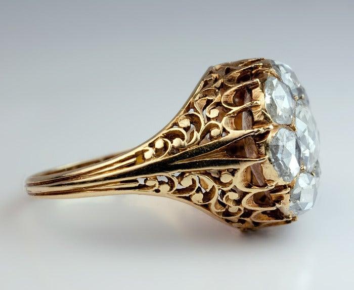 Antique Georgian Rose Cut Diamond Cluster Ring c1820 3