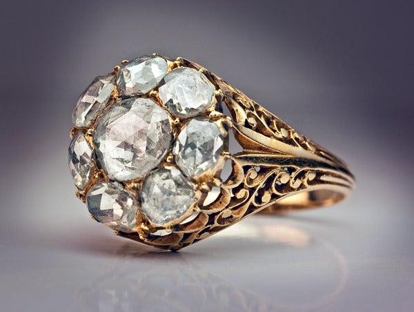 Antique Georgian Rose Cut Diamond Cluster Ring c1820 4