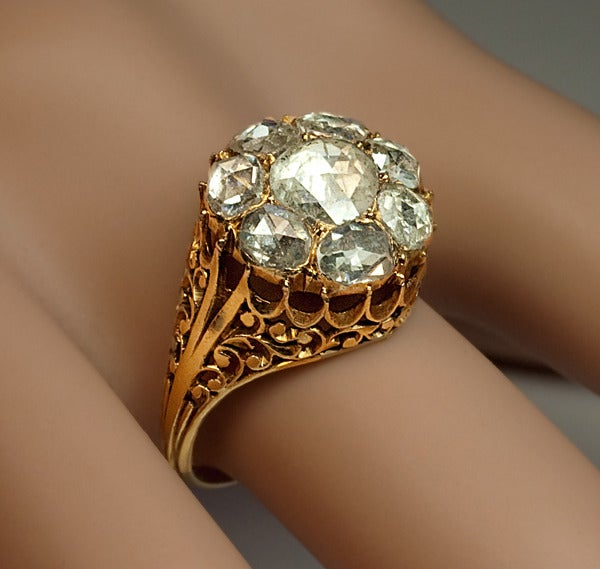 Antique Georgian Rose Cut Diamond Cluster Ring c1820 5