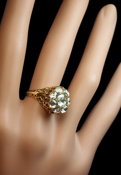 Antique Georgian Rose Cut Diamond Cluster Ring c1820 6