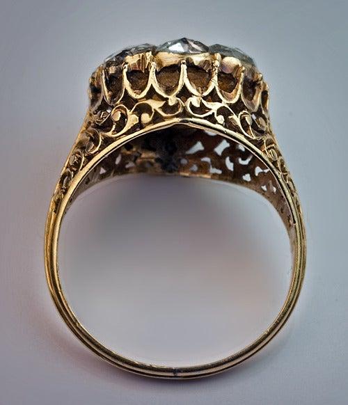 Antique Georgian Rose Cut Diamond Cluster Ring c1820 7