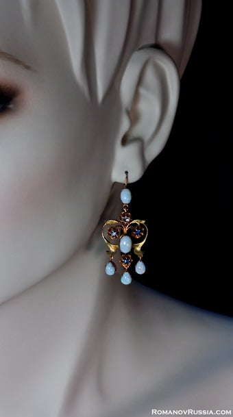 Art Nouveau Elegant Girandole Opal Earrings At 1stdibs