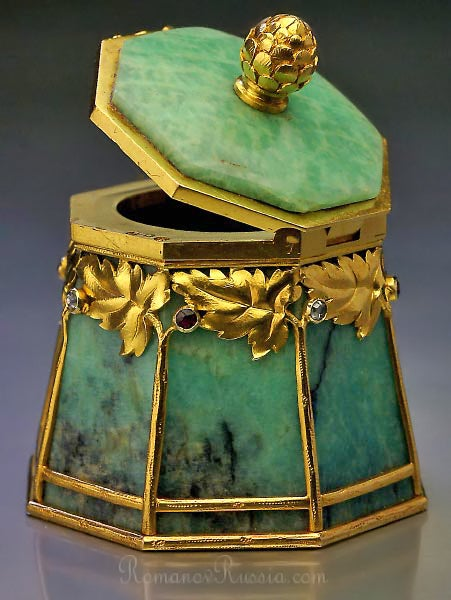 Bolin Art Nouveau Gold Mounted Amazonite Box 2