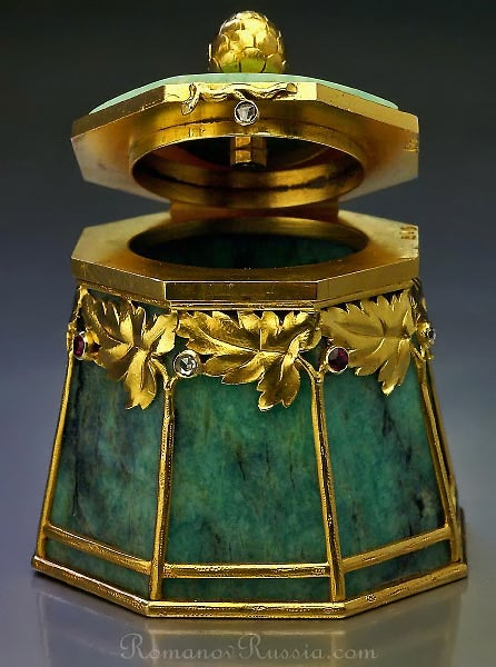 Bolin Art Nouveau Gold Mounted Amazonite Box 3