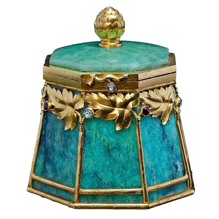 Bolin Art Nouveau Gold Mounted Amazonite Box 1