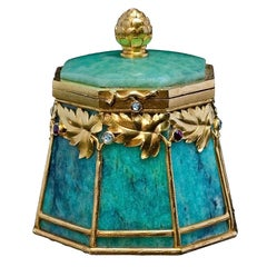 Art Nouveau Antique Russian Gold Mounted Amazonite Box By Bolin