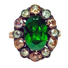 Russian 5 Ct Demantoid Fancy Colored Diamond Antique Ring