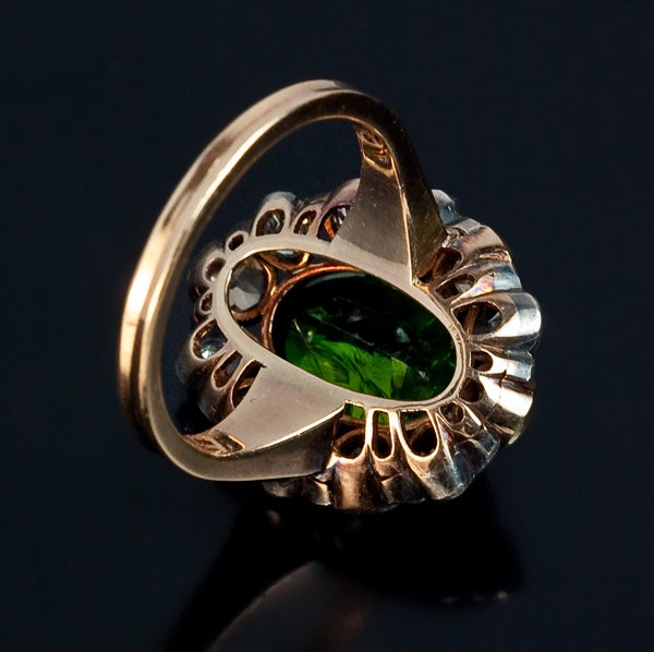 Victorian Antique Russian 5 Carat Demantoid Fancy Colored Diamond  Ring For Sale
