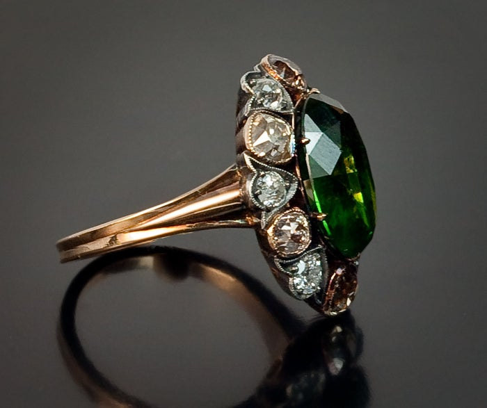 Antique Russian 5 Carat Demantoid Fancy Colored Diamond  Ring In Excellent Condition For Sale In Chicago, IL