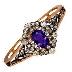Siberian Amethyst Diamond Cluster Antique Gold Bangle Bracelet