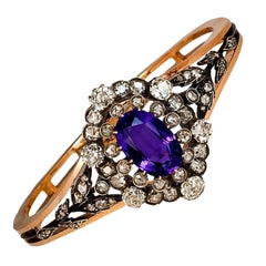 Antique Siberian Amethyst Diamond Gold Bangle Bracelet