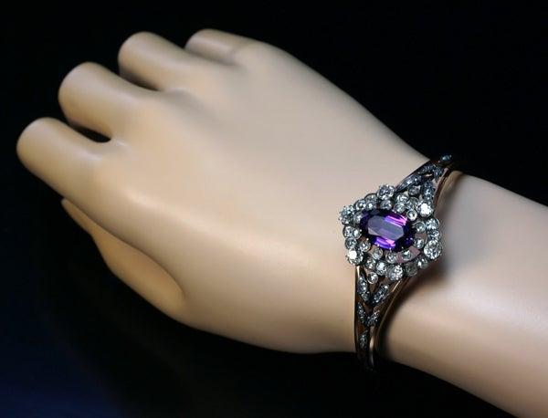Siberian Amethyst Diamond Cluster Antique Gold Bangle Bracelet For