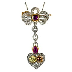 FABERGE Flaming Heart Pendant / Brooch c1897