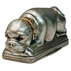 Antique Russian Silver Pug Dog Snuff Box