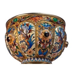 Antique Russian Cloisonne Enamel Silver Bowl