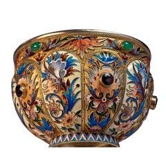 Antique Russian Cloisonné Enamel Gilded Silver Bowl