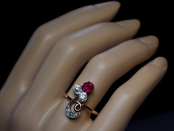 Belle Epoque Antique Russian Ruby And Diamond Ring 2