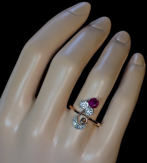 Belle epoque antique russian ruby and diamond ring at 1stdibs for Russian wedding rings for sale
