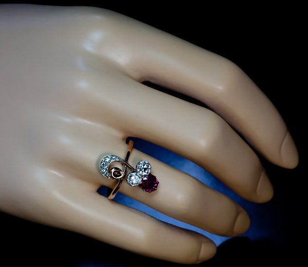 Belle Epoque Antique Russian Ruby And Diamond Ring 5