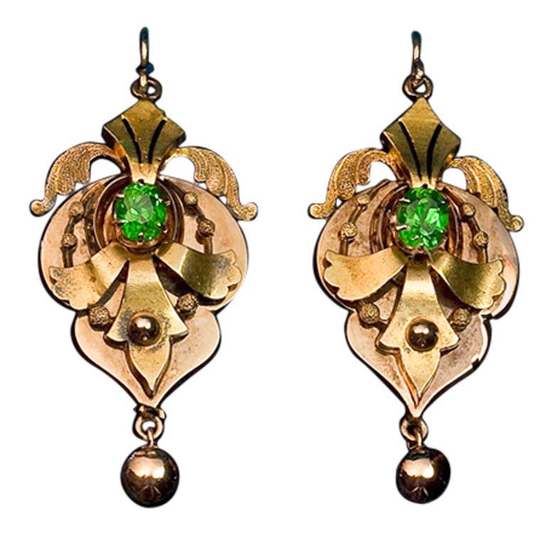 Victorian Era Russian Demantoid Earrings 1872