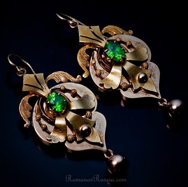 Victorian Era Russian Demantoid Earrings 1872 image 2