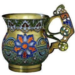 FABERGE Antique Russian Cloisonne Enamel Vodka Cup