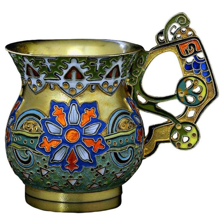 Antique Russian Cloisonne Enamel Vodka Cup by Faberge For Sale
